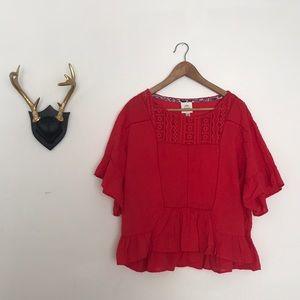 Red Cotton Peplum Top
